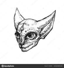 руки Drawn иллюстрация изолированные белом фоне сфинкс кошка голову