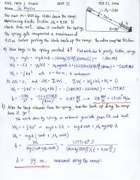 quiz 11 energy conservation spring sliding friction