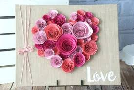 heart shaped rolled paper flower wall decor