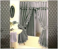double swag shower curtain attached valance curtains intended for prepare 9