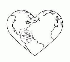 Small Picture Earth Heart Earth Day coloring page for kids coloring pages
