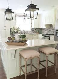 Lantern Pendant Light For Kitchen Classic Charleston Style Farmhouse Kitchen With Brick Backsplash
