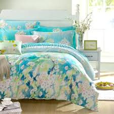 blue fl duvet covers free luxurious tencel 4pc full queen king bedding sets flower