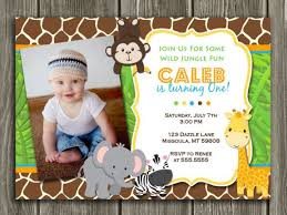 Jungle Theme Birthday Invitations Printable Jungle Birthday Invitation Photo Invite Boys