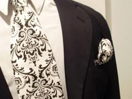 Damask Tie Damask Tie And Hanky Set Men Madison Black White Necktie Square Set