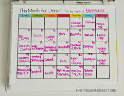 monthly meal planner template printable meal planning template thirty handmade days
