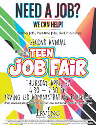 irving independent school district homepage click here for more information about the irving isd annual teen job fair