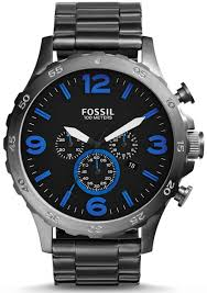 men s fossil nate chronograph stainless steel watch jr1478