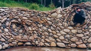 river rock wall