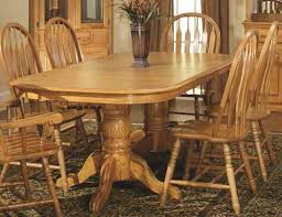 dining tables double pedestal oak dining table in harvest finish id solid wood room