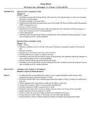 Recruiting Coordinator Resume Samples Velvet Jobs