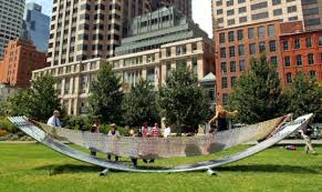 The big hammock on the Rose Kennedy Greenway, designed by architect Hansy  Better Barraza,