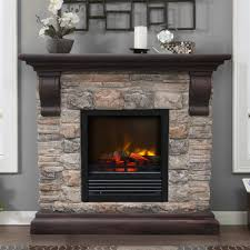 austin electric fireplace stone look