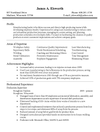 Marvellous Design Production Supervisor Resume 3 Best Inventory