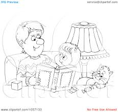 royalty clip art illustration of a coloring page outline of a royalty clip art illustration of a coloring page outline of a father reading to his cat and son by alex bannykh