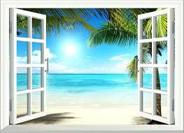 wall art beach scenes beach wall art 6 sunshine window view removable stickers vinyl decal home wall art beach