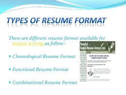 3 Types Of Resume Formats Sample Thekindlecrew Com