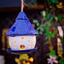 Solar Light Bird Feeder Amazon Com Sungmor Ceramic Hanging Solar Powered Bird