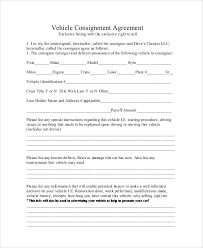 consignment form for cars 10 sample consignment agreements word pdf