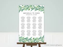 Foliage Garland Wedding Seating Chart Poster Poster Prints