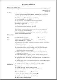 Pharmacy Technician Resume Example Resume Templates
