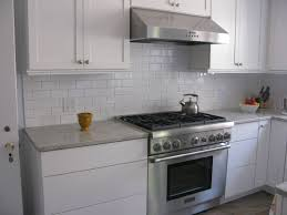 white tile kitchen countertops. Furniture. Grey Granite Countertops And White Tile Backsplash Also Stainless Stove. Classy Look Of Kitchen :