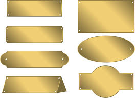 metal name plates tags gold bronze gold signs