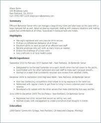 Professional Bartending Resume Sample Resume Printable Coloring