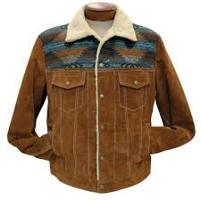 men s scully boar suede snap front jean jacket with knit inset 1015 cafe brown