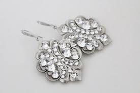 crystal bridal earrings vintage style wedding earrings bridal jewelry chandelier earrings swarovski crystal earrings antique silver
