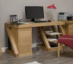 z shape solid oak large computer desk