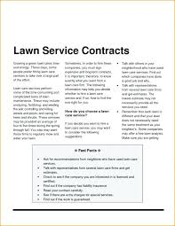 Landscaping Contract Template Free Printable Lawn Service Contract