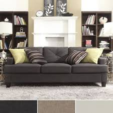 Brilliant Modern Brown Couches Linen Tufted Sloped Track Sofa Inspire Q Intended Design