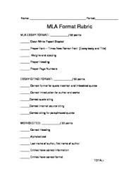 teaching mla format mla format rubric by thefineprint teachers pay teachers