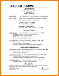 Curriculum Vitae Science Teacher Teaching Cv Template Job For