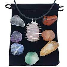 zangrala healing crystals and stones 7 chakra stone set with rose quartz and cage necklace