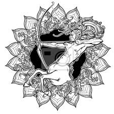 Fototapeta Střelec Znamení Zvěrokruhu S Ozdobným Rámem Slunečních Paprsků
