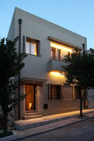 view modern house lights. Architecture, Exterior Small Modern Home Lighting Ideas Under Balcony ~ Contemporary Residence Acropolis View House Lights E