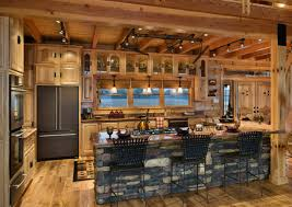 Rustic Cabin Kitchen Cabinets Cabin Kitchens With Brick Stone Kitchen Island Having Brown Wooden