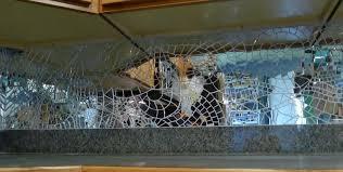 Detail of mirror mosaic backsplash