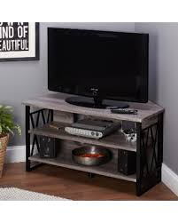 Simple Living Seneca Corner TV Stand (40 inch Stand, Black/Gray) Find the Best Deals on