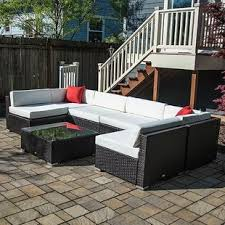 wicker patio furniture. Perfect Furniture 7 Piece Rattan Sectional Seating Group With Cushions To Wicker Patio Furniture L