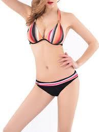 <b>women</b> sexy plus size halter <b>rainbow striped</b> underwire bikini low ...