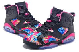 jordan shoes for girls 2015 pink. air jordan retro 6 floral print black pink girls size for sale-2 shoes 2015