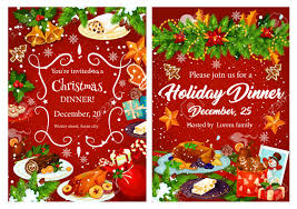 Christmas Holiday Invitations Christmas Holiday Festive Dinner Invitation Card Xmas Turkey