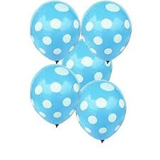 Sky Blue Latex Shreeji <b>Decoration</b> SkyBlue Dotted Balloon, Size: <b>18</b> ...