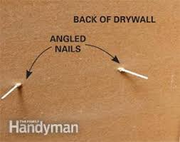 angled finish nails in drywall with no studs