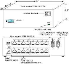 vga splitter multi point extender cat5 a v distribution amplifier vga video splitter extender via cat5 vopex c5v 16