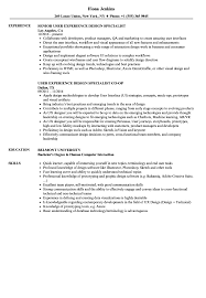 User Experience Design Specialist Resume Samples Velvet Jobs