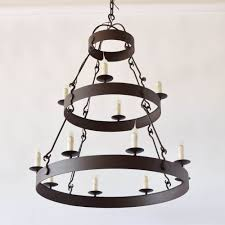 2 tier iron ring chandelier with rustc finish custom sizes avaialable